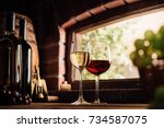red and white wine tasting in... | Shutterstock . vector #734587075
