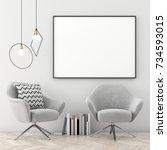 mock up poster frame in... | Shutterstock . vector #734593015