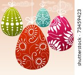 easter card with hanging... | Shutterstock .eps vector #73459423