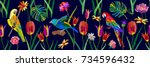 exotic colors palette. seamless ... | Shutterstock .eps vector #734596432