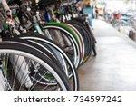 row of bicycle in bike shop ... | Shutterstock . vector #734597242