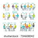 office team business people big ... | Shutterstock .eps vector #734608042