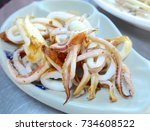 Small photo of Grilled neritic squid closeup at restaurant