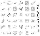 beetle icons set. outline style ... | Shutterstock .eps vector #734613586