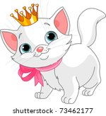 Stock vector adorable white kitten with golden crown 73462177
