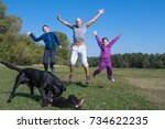 a family are jumping in the... | Shutterstock . vector #734622235