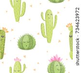 seamless pattern with cute... | Shutterstock .eps vector #734623972