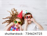 cute children with sunglasses ... | Shutterstock . vector #734624725