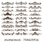 vintage ornaments design... | Shutterstock .eps vector #734625916