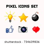pixel icons set  light bulb... | Shutterstock .eps vector #734639836