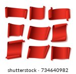red paper banners set. suitable ... | Shutterstock .eps vector #734640982