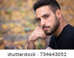 handsome young man sitting... | Shutterstock . vector #734643052