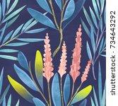 seamless floral pattern....   Shutterstock . vector #734643292