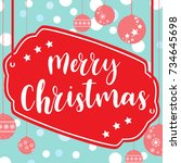 template christmas card  for... | Shutterstock .eps vector #734645698