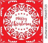 template christmas card  for... | Shutterstock .eps vector #734645725