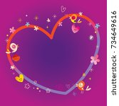 heart frame with copy space for ... | Shutterstock .eps vector #734649616