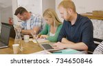 young concentrated people... | Shutterstock . vector #734650846