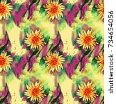 romantic floral seamless... | Shutterstock . vector #734654056