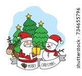 cartoon santa claus in merry...   Shutterstock .eps vector #734655796