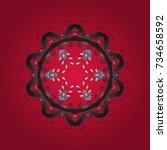 snowflake doodle graphic hand... | Shutterstock .eps vector #734658592