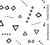 black and white doodle seamless ... | Shutterstock .eps vector #734673352