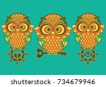 owl outline emblem in geometric ... | Shutterstock .eps vector #734679946