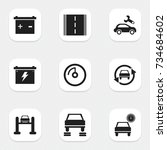 set of 9 editable vehicle icons.... | Shutterstock .eps vector #734684602