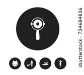 set of 5 editable kin icons.... | Shutterstock .eps vector #734684836