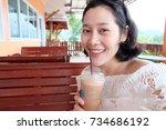 selfie asian woman  self... | Shutterstock . vector #734686192