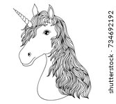 head of hand drawn unicorn on... | Shutterstock .eps vector #734692192