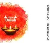elegant shiny diwali festival... | Shutterstock .eps vector #734693806