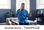 focused mature businessman... | Shutterstock . vector #734699128