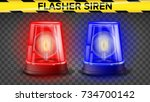 red and blue flasher siren... | Shutterstock .eps vector #734700142