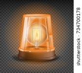 orange flasher siren vector. 3d ... | Shutterstock .eps vector #734700178
