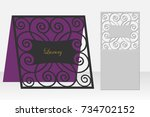 card with a repeating geometric ... | Shutterstock .eps vector #734702152