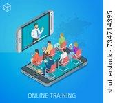 banner on theme online training.... | Shutterstock .eps vector #734714395