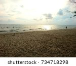 sand and sea blurry background  | Shutterstock . vector #734718298