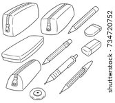 vector set of pencil case | Shutterstock .eps vector #734720752