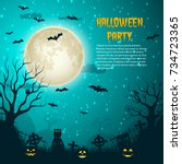 halloween party night moon... | Shutterstock .eps vector #734723365