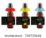 beer labels and neck labels on... | Shutterstock .eps vector #734725636