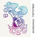 hand drawn magic bottle. vial... | Shutterstock .eps vector #734727862