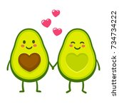 cute cartoon avocado couple... | Shutterstock . vector #734734222