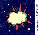 cloud exploding in the night...   Shutterstock .eps vector #734736322