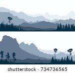 set horizontal banners of wild... | Shutterstock .eps vector #734736565