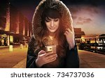portrait of an attractive...   Shutterstock . vector #734737036