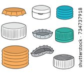 vector set of bottle cap | Shutterstock .eps vector #734737918