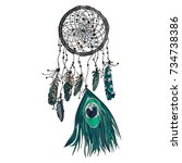 hand drawn ethnic dreamcatcher. ... | Shutterstock .eps vector #734738386