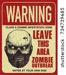 sign board with zombie  words... | Shutterstock .eps vector #734739685