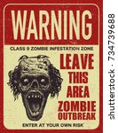 sign board with zombie  words... | Shutterstock .eps vector #734739688