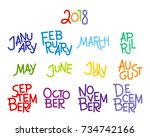 lettering months of the year ... | Shutterstock .eps vector #734742166